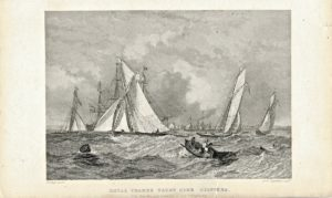 Antique Engraving Print, Royal Thames Yacht Club Clippers, 1839