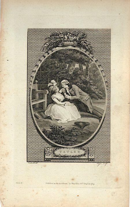 Antique Engraving Print, Tatler, 1785 (Plate II)