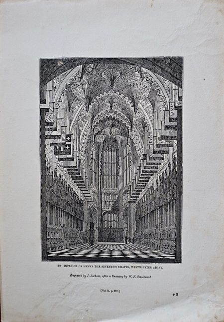 Antique Engraving Print, Interior of Henry the Seventh's Chapel, Westminster Abbey, 1835