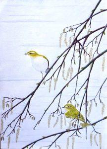 Vintage mixed media birds on paper, 1990