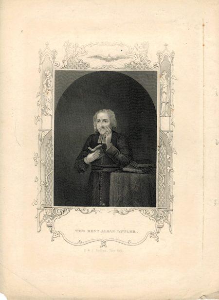 Antique Engraving Print, The Rev. Alban Butler, 1830 ca.