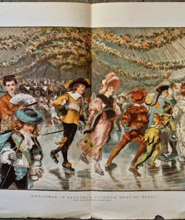 Vintage Print, Christmas in Canada-A Juvenile Skating Ball, 1883