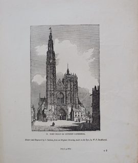 Antique Engraving Print, West Front of Antwerp Cathedral, 1835