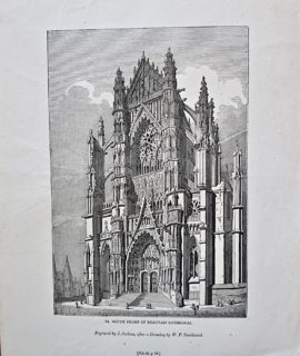 Antique Engraving Print, South Front of Beauvais Cathedral, 1835