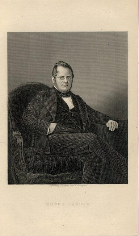 Antique Engraving Print, Count Cavour, 1840 ca.