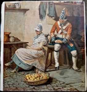 Antique Print, The soldier and the lady, 1880 ca.