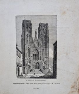 Antique Engraving Print, Church of St. Gudule, Brussels, 1835