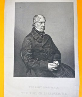 Antique Engraving Print, The Right Honourable, The Earl of Aberdeen, K.G., (George Hamilton-Gordon), 1870 ca.