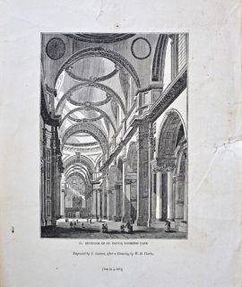 Antique Engraving Print, Interior of St. Paul's, Looking East, 1835