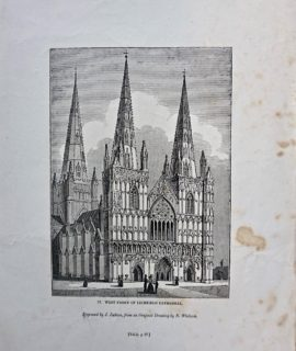 Antique Engraving Print, West Front of Lichfield Cathedral, 1835