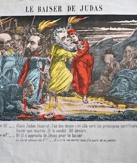 Rare Antique Original Print, Le Baiser de Judas, 1871
