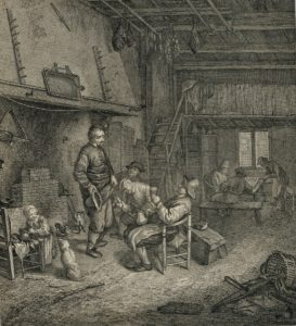 Antique Engraving Print, inside of a tavern, 1830 ca.