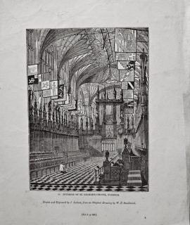 Antique Engraving Print, Interior of St. George's Chapel, Windsor, 1835