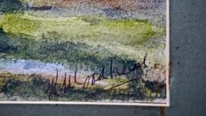 Vintage Watercolor on paper, Ponte de Lima, Portugal, Signed, 1990