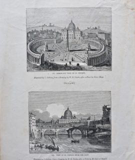 Antique Engraving Print, View of St. Peter's, 1835