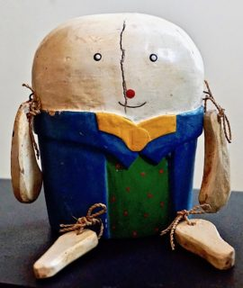 Antique Wood Sitter Handmade Humpty Dumpty, 1930 ca.