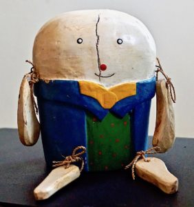 Antique Wood Sitter Handmade Humpty Dumpty, 1930 ca.