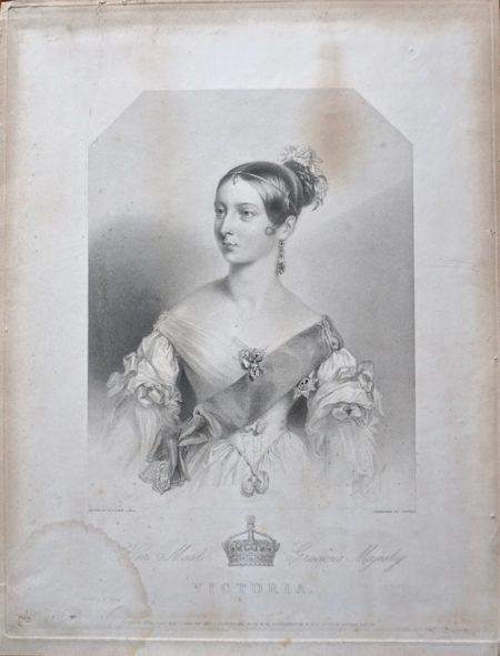 Antique Engraving Print, Victoria, 1838
