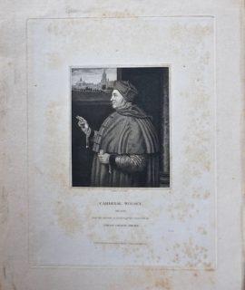 Antique Engraving Print, Cardinal Wolsey, 1832
