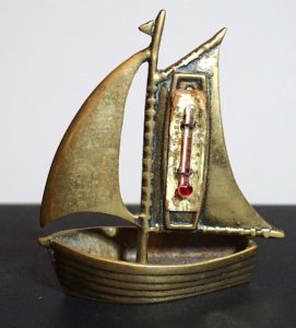 Vintage Small Brass Boat Temperature Gauge