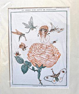 Vintage Print, La Féerie d'un matin de printemps, L'abaude a la rose, 1917