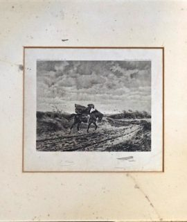 Vintage Engraving Print, Horse and Rider, 1911