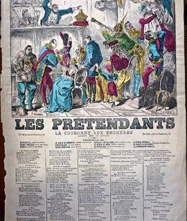 Rare Antique Print, Les Prétendants, 1869 ca.