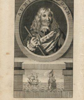 Antique Engraving Print, Admiral Opdam, 1740 ca.