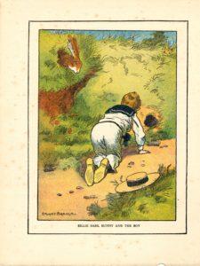 Vintage Engraving Print, Billie Basil Bunny and the Boy, 1917 by Stuart Barker