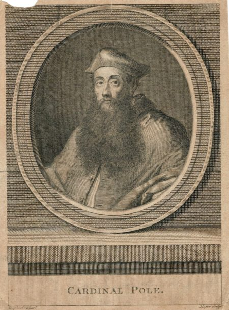 Antique Engraving Print, Cardinal Pole, 1740 ca.