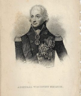 Antique Engraving Print, Admiral Viscount Nelson, 1860