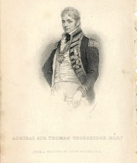 Antique Engraving Print, Admiral sir Thomas Troubridge Bart., 1859