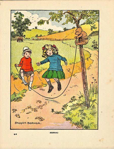 Rare Vintage Print, Skipping, by Stuart Barker, 1917
