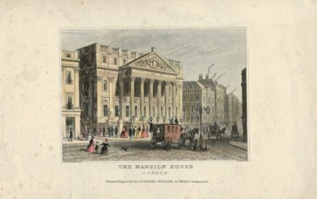 Antique Engraving Print, The Mansion House, London, 1830
