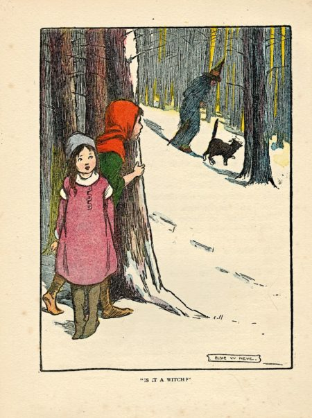 """Rare Vintage Print, """"Is it a Witch?"""" by Elsie W. Neve, 1917"""