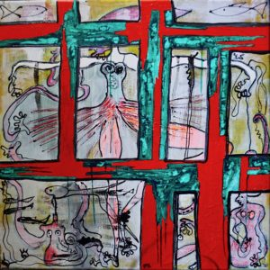 "Mixed media on canvas, ""Behind the Windows"", by Mary Blindflowers©"