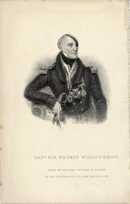 Antique Engraving Print, Cap. Sir Nesbit Willoughby, 1859