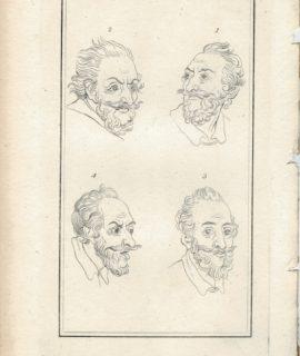 Antique Engraving Print, Face, 1785 ca.