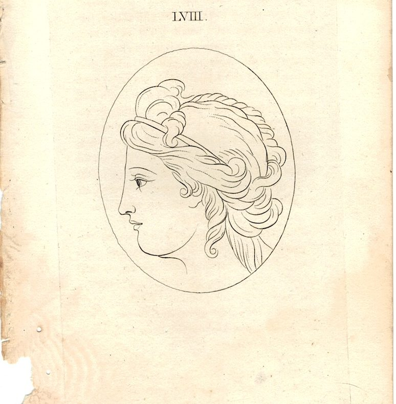 Antique Engraving Print, Female Portrait, 1750