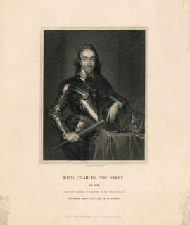 Antique Engraving Print, King Charles the First, 1835