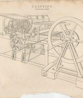 Antique Engraving Print, Printing, Typography, 1820 ca.