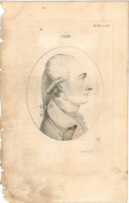 Antique Engraving Print, Portrait, 1750