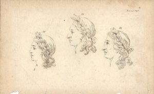 Antique Engraving Print, Face, 1750
