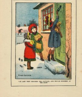 "Rare Vintage Print, ""At last day reached the cottage, and Phyllis knocked at the door"", 1917"
