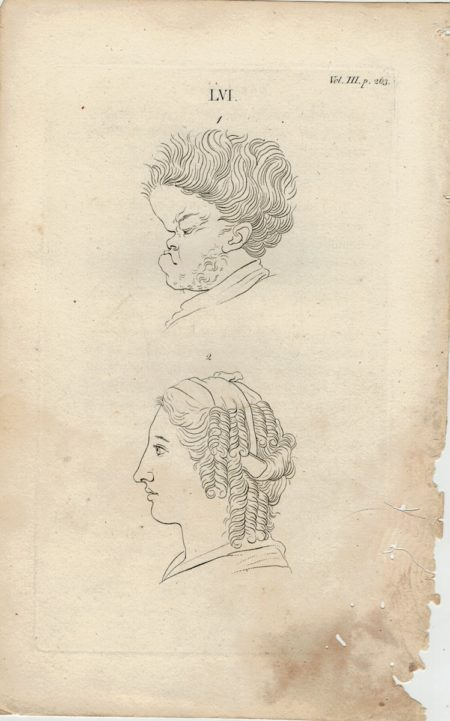 Antique Engraving Print, Faces, 1750