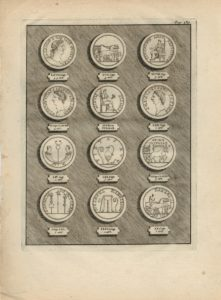 Antique Engraving Print, Ancient Coins, 1779
