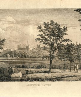 Antique Engraving Print, Alnwick Castle, 1750 ca.