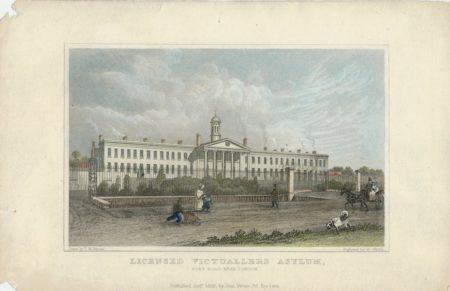 Antique Engraving Print, Licensed Victuallers Asylum, Kent Road near London, 1830