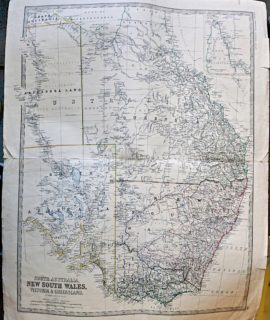 Antique Map, South Australia New South Wales, Victoria & Queensland, 1880