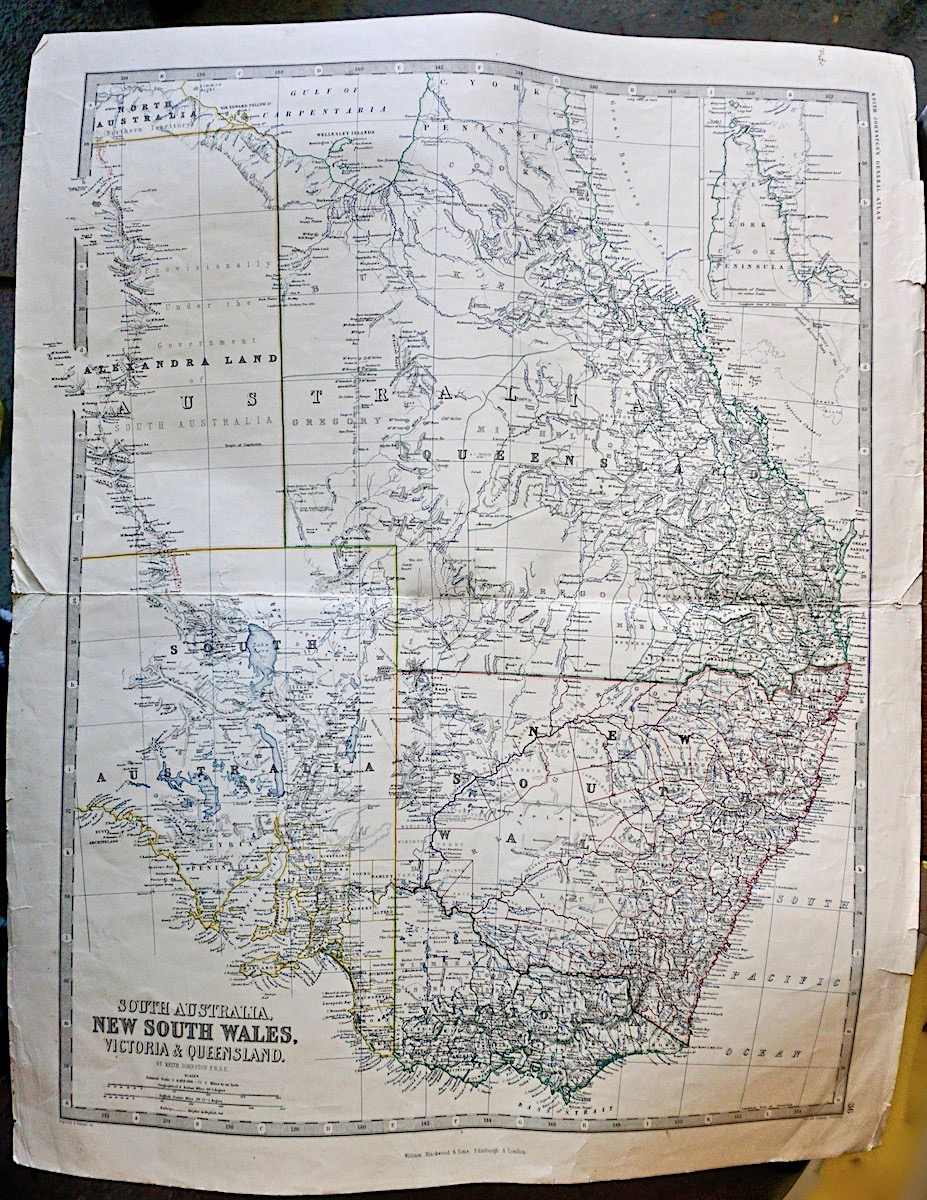 Map Of Australia 1880.Antique Map South Australia New South Wales Victoria Queensland 1880